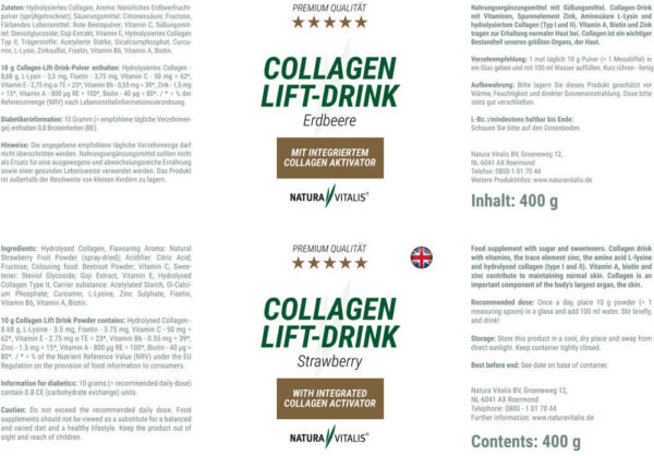 Natura Vitalis Collagen Lift Drink Erdbeere Rückseite