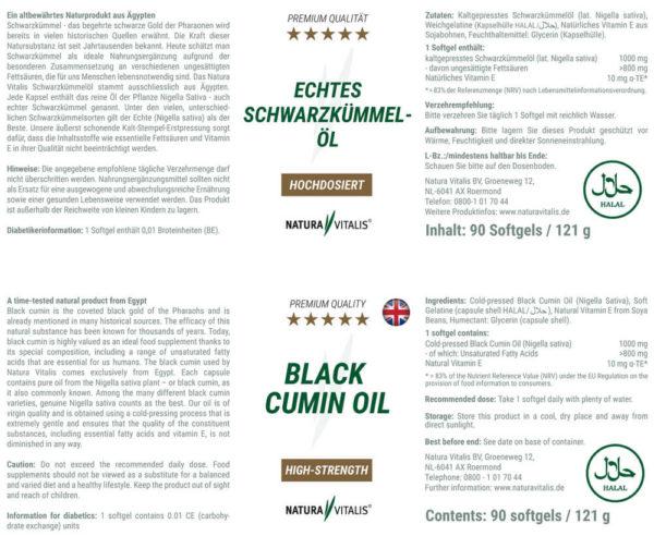Echtes Schwarzkümmelöl Naturavitalis Rückseite