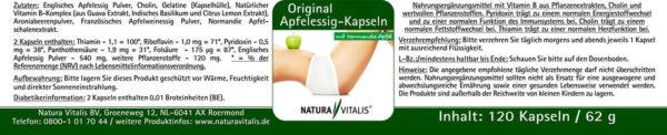 Original Apfelessig Kapseln Natura Vitalis Rückseite
