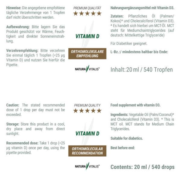 Vitamin D von Natura Vitalis Rückseite